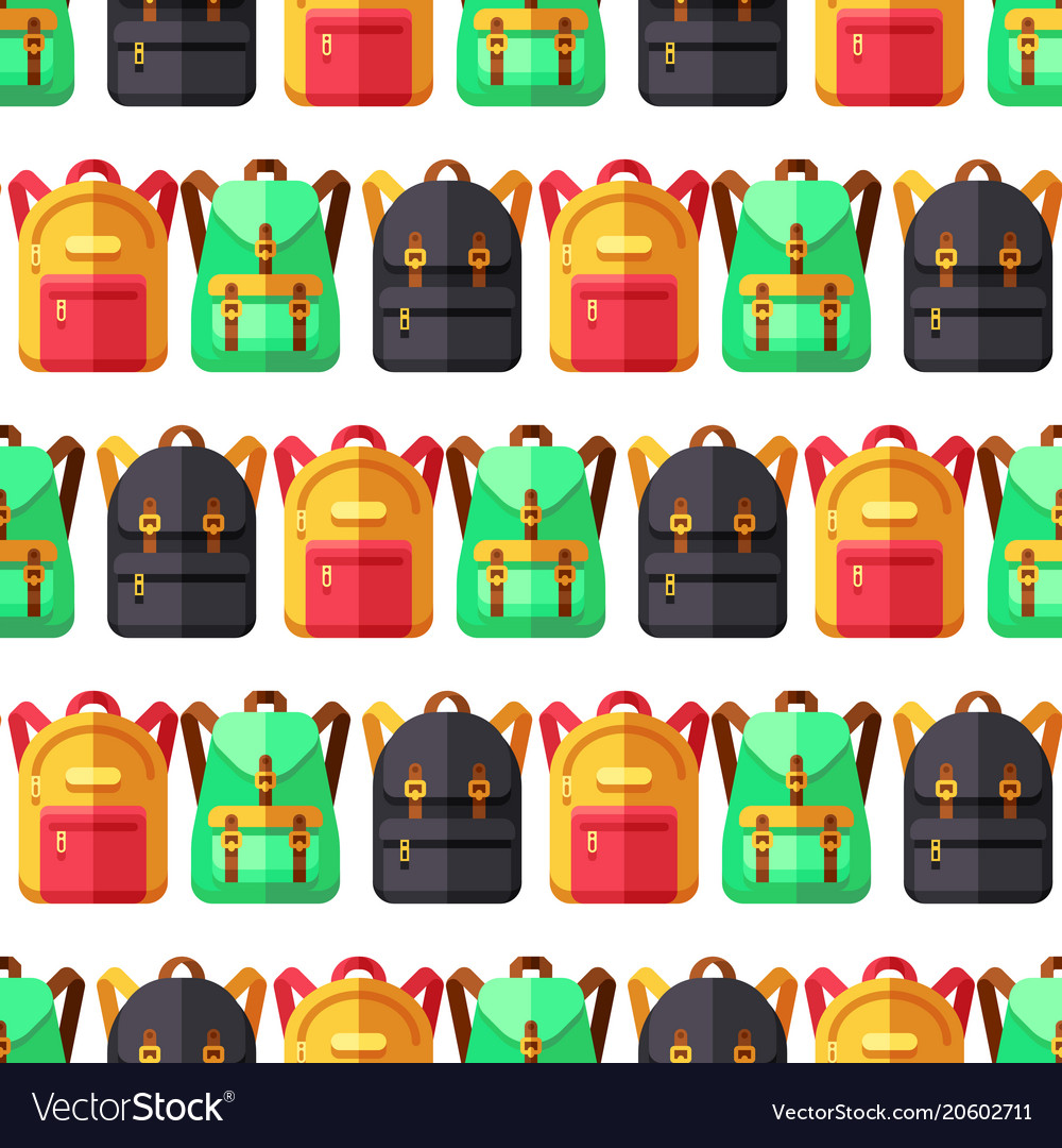 School and travel flat backpacks seamless pattern