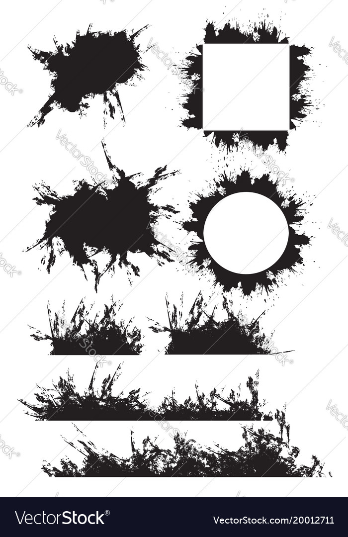 Set grunge frames borders with scuffed elements vector image