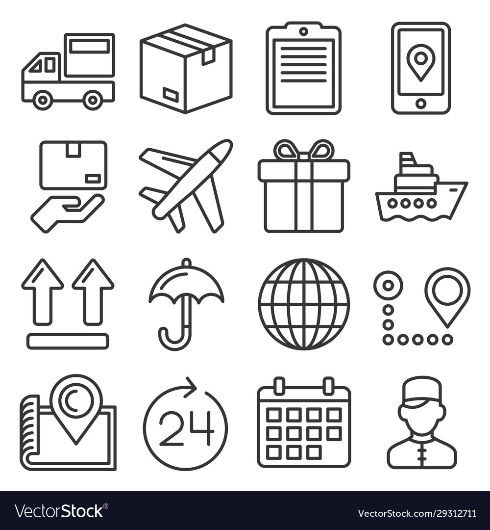 Shipping and delivery icons set on white