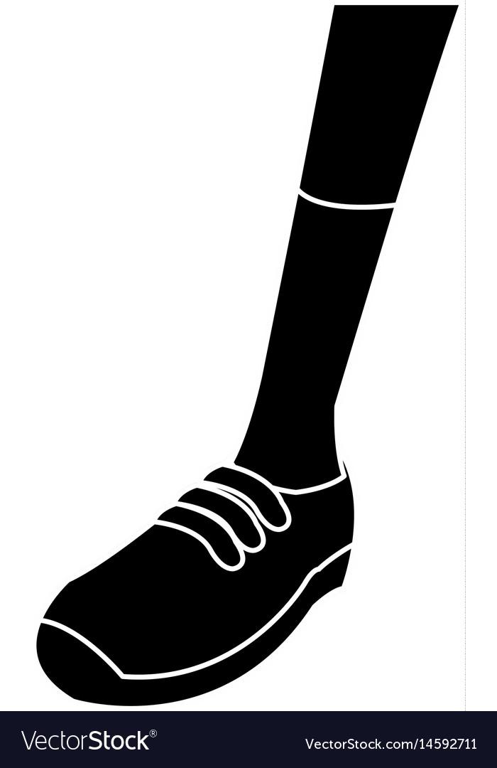 Silhouette foot sneaker sport concept vector image