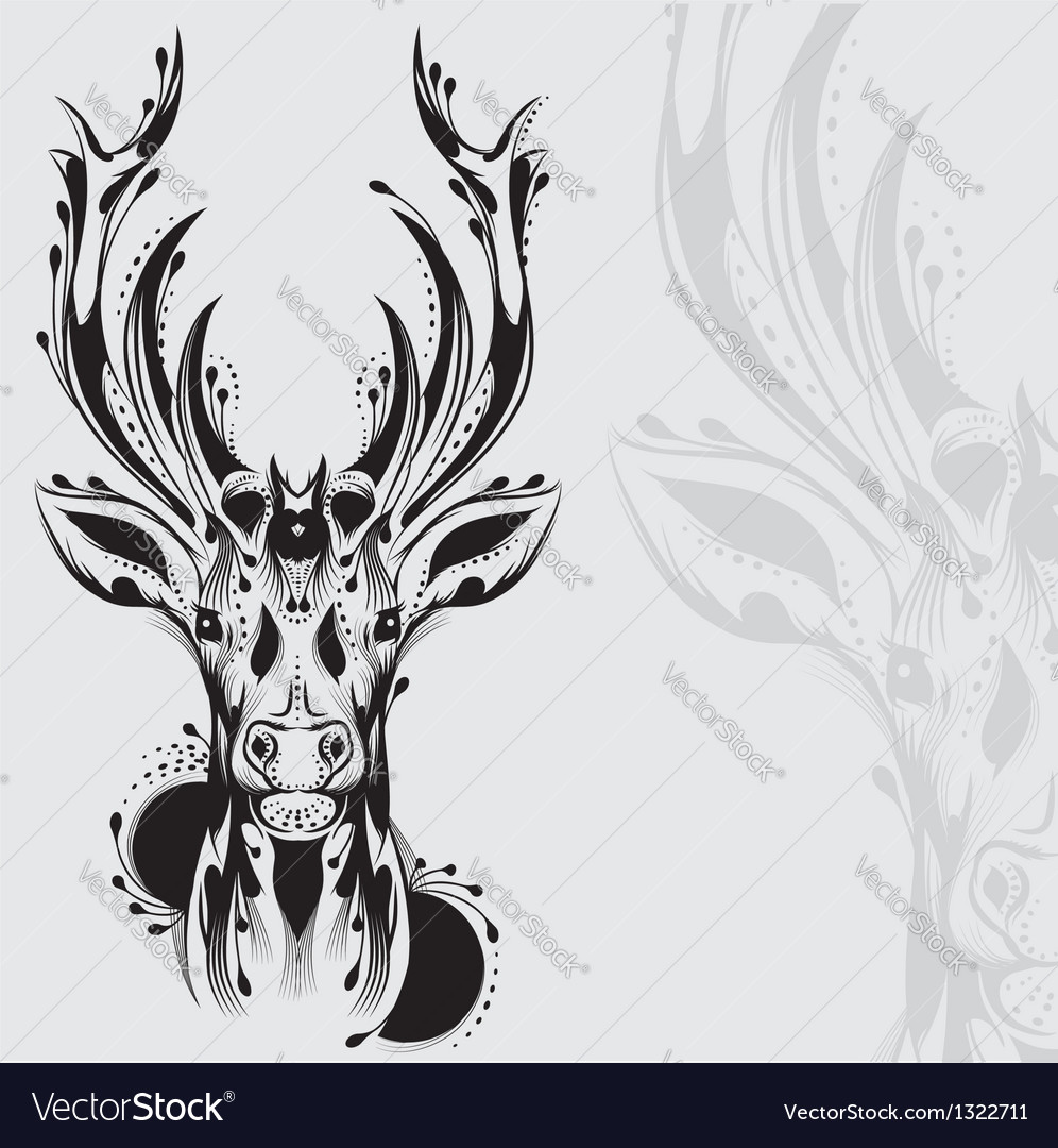 Tribal deer head tattoo