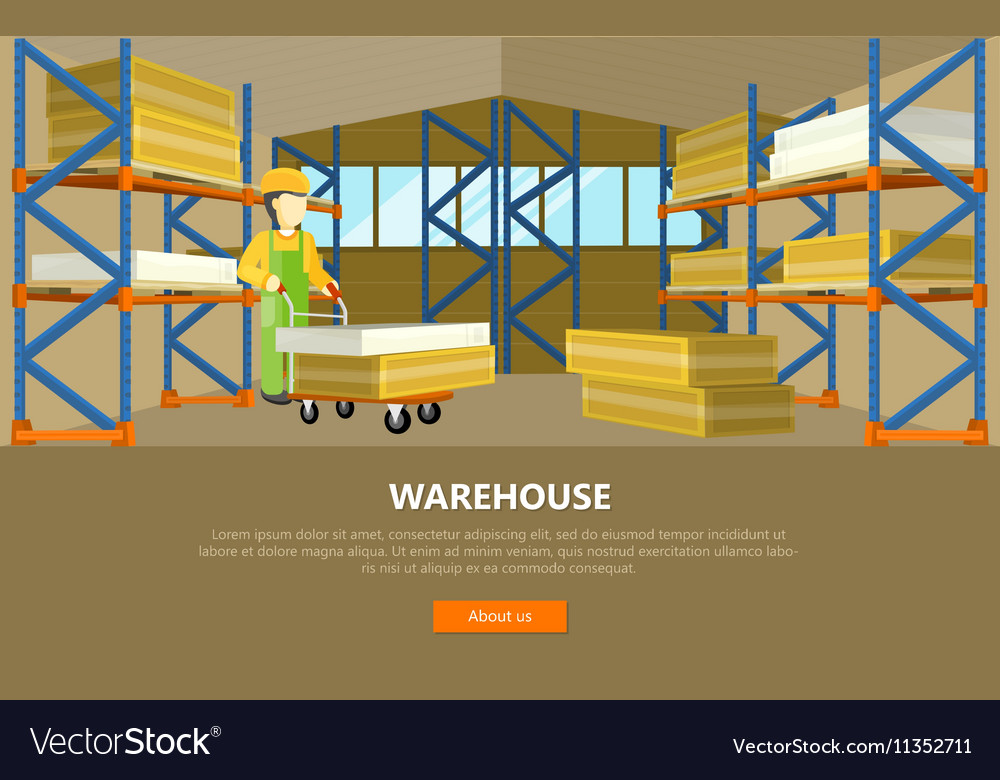 Warehouse Conceptual Web Banner in Flat