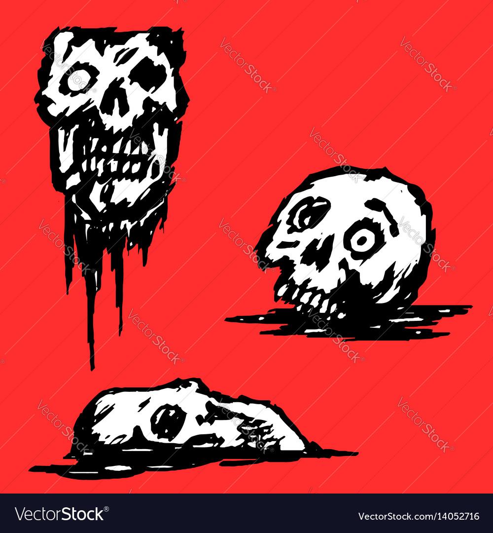 Broken skull set vector image