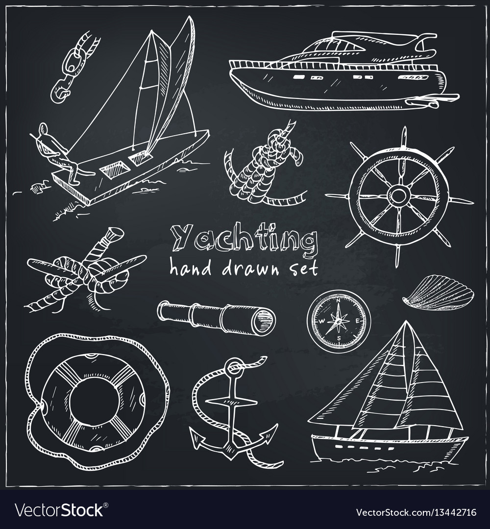 Collection yachting doodle icons