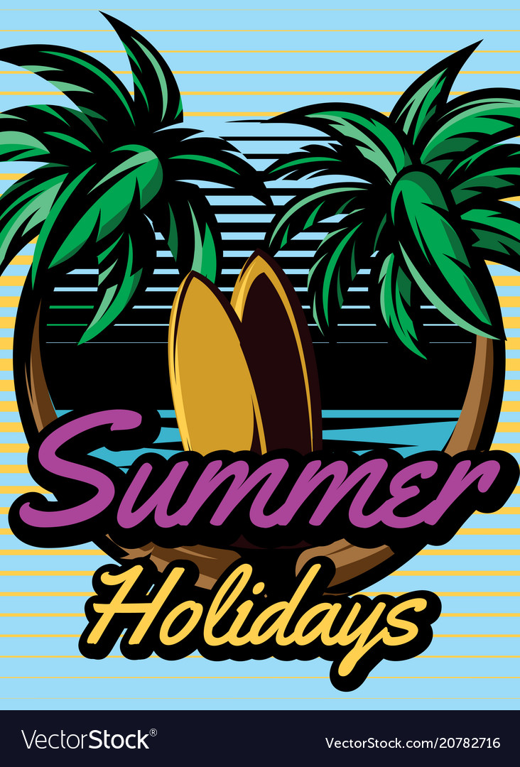 Colored retro poster with palm trees to advertise