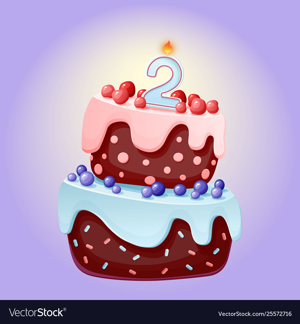 Tremendous Cute Cartoon 2 Year Birthday Festive Cake With Vector Image Birthday Cards Printable Benkemecafe Filternl