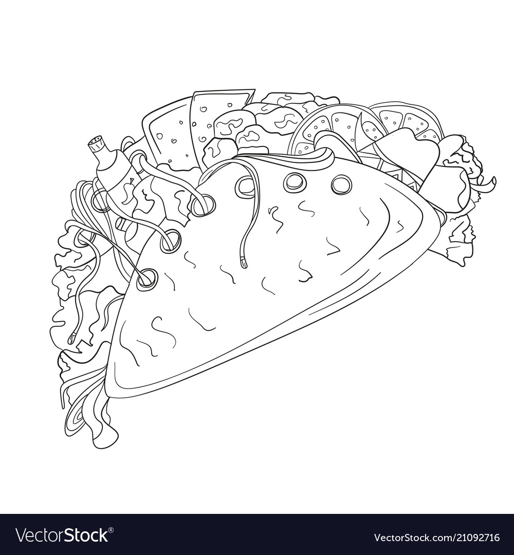 Hand drawn tacos icon badge fast food