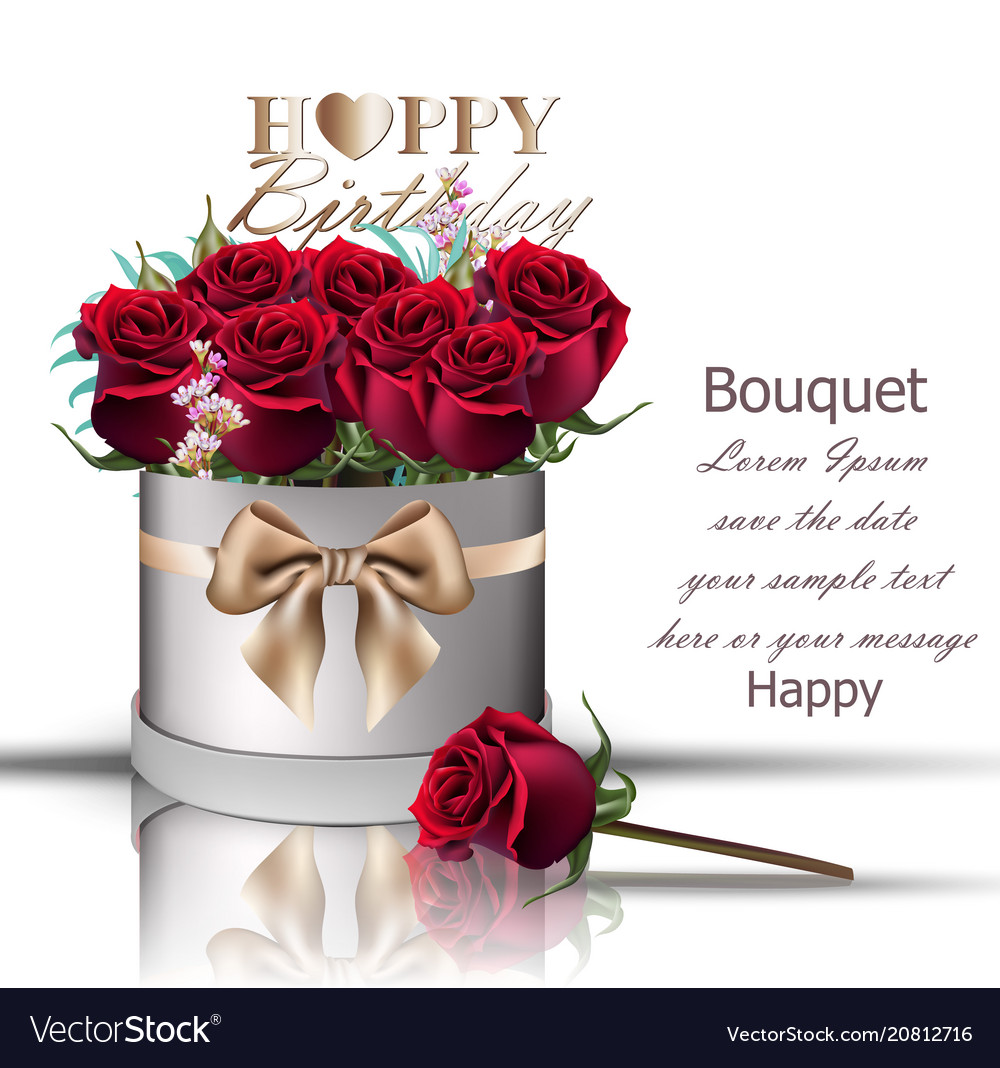 Happy birthday red roses bouquet vintage Vector Image