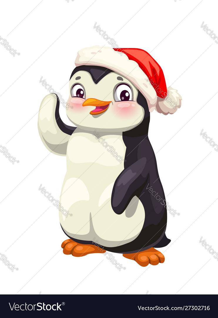 Penguin animal cartoon antarctic bird in red hat