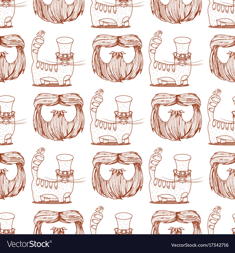 Seamless pattern with cat in a top hat and beard Vector Image 19d9f917e20