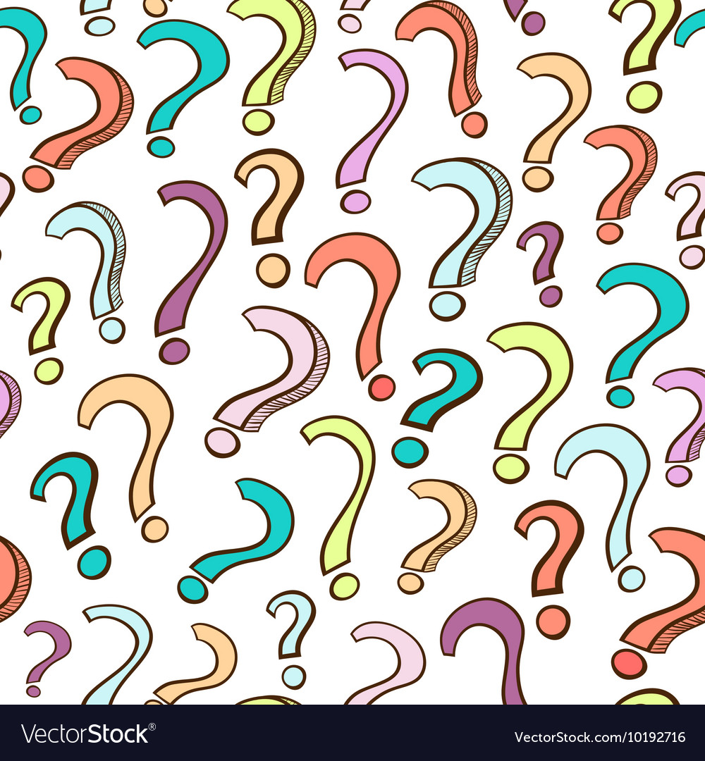 Seamless pattern with hand drawn colorful question vector image