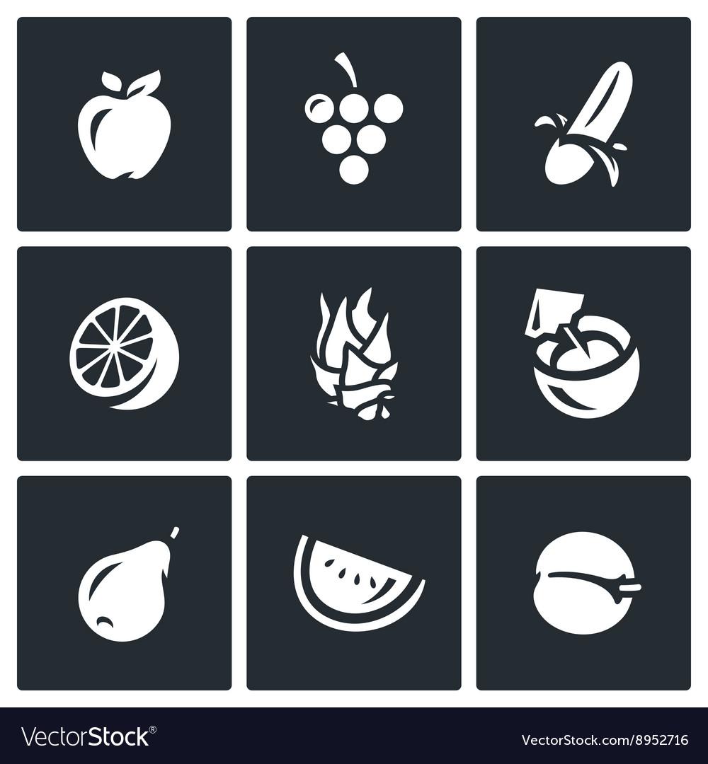 Set of Fruits Icons Apple Grape Banana