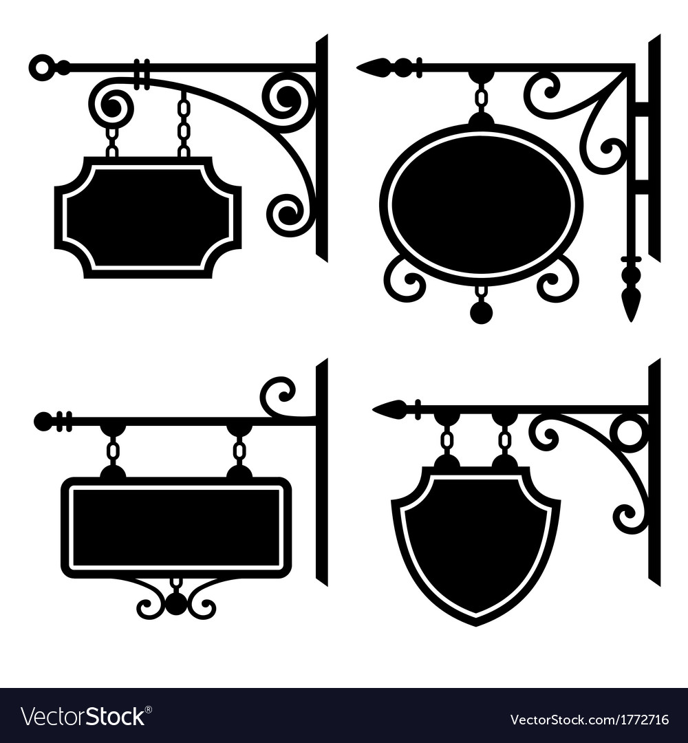 Set of retro graphic forged signboards vector image