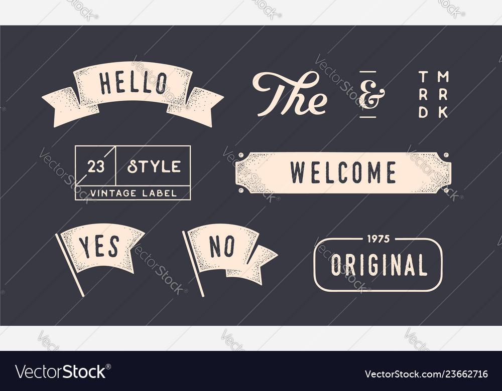 Set of vintage graphic design elements linear