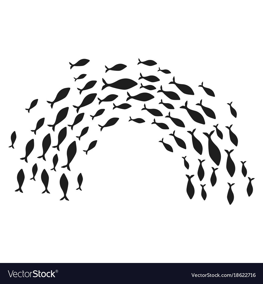 Silhouettes groups sea fishes colony of