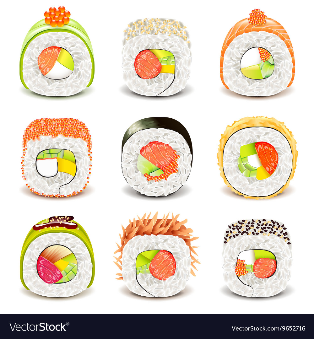 Sushi roll icons set vector image