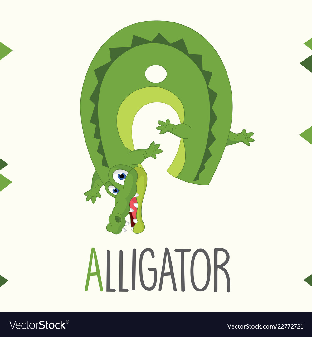 Alphabet letter a and alligator