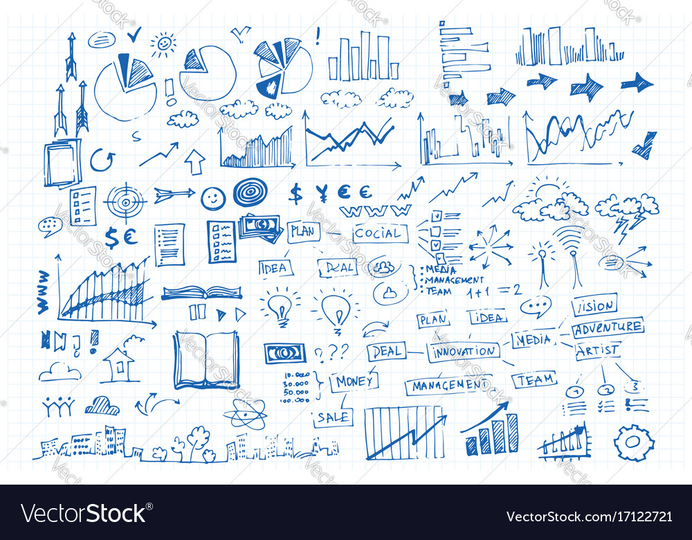 Business doodle icon and hand vector image