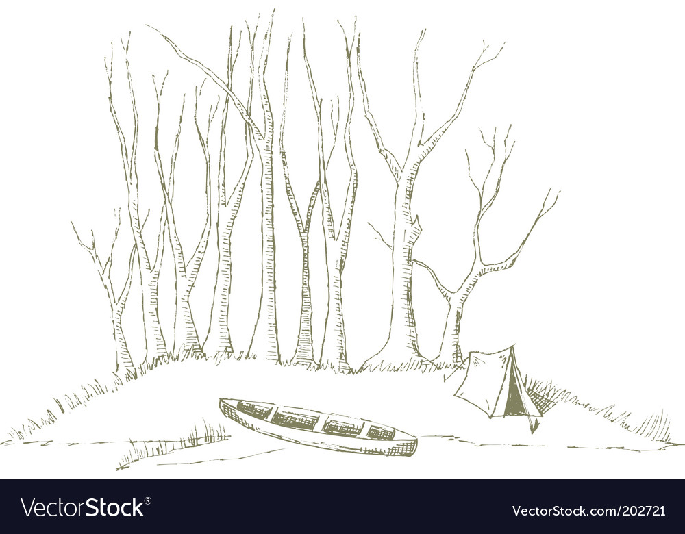 Canoe camp vector image