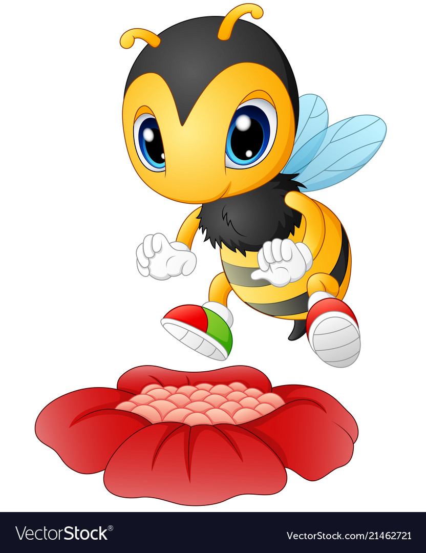 Cartoon bee happy to see the flower