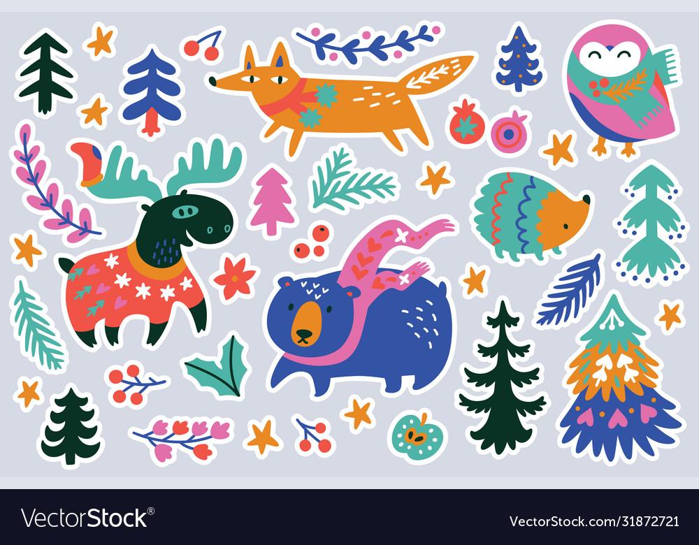 Christmas forest animal sticker set