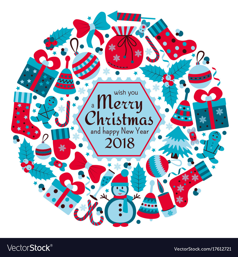 Christmas Greeting Card With Text Merry Xmas And Vector Image