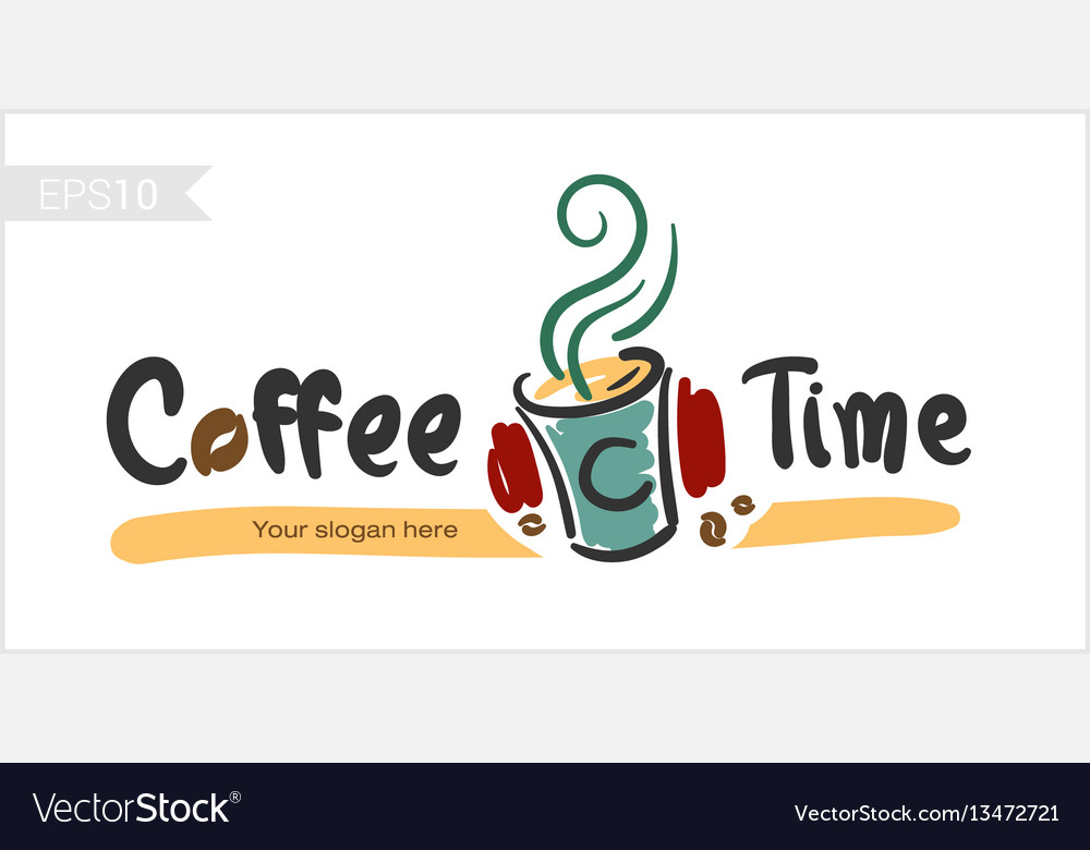 Coffee time happy hour for badge label