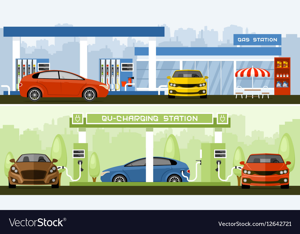 Gas And Ev Charging Station Vector Image