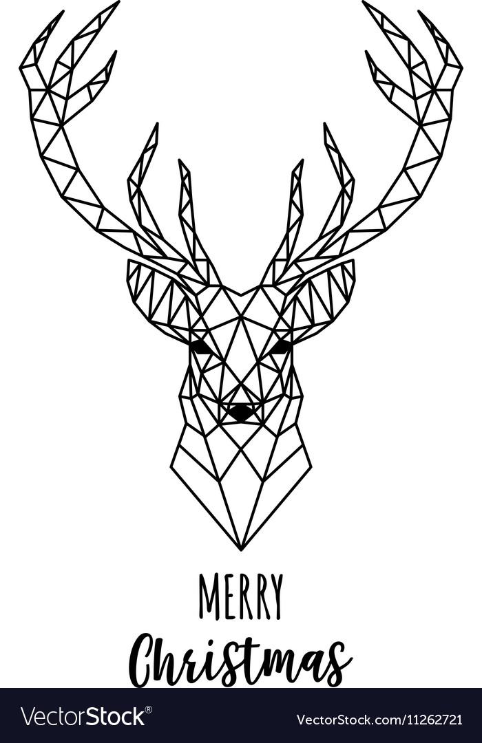 Geometric Reindeer Christmas card Royalty Free Vector Image