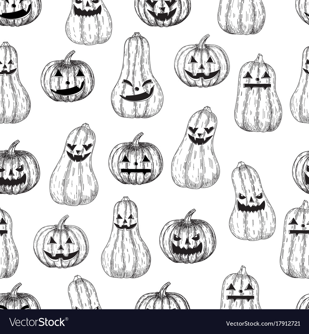 Halloween seamless background pumpkin with
