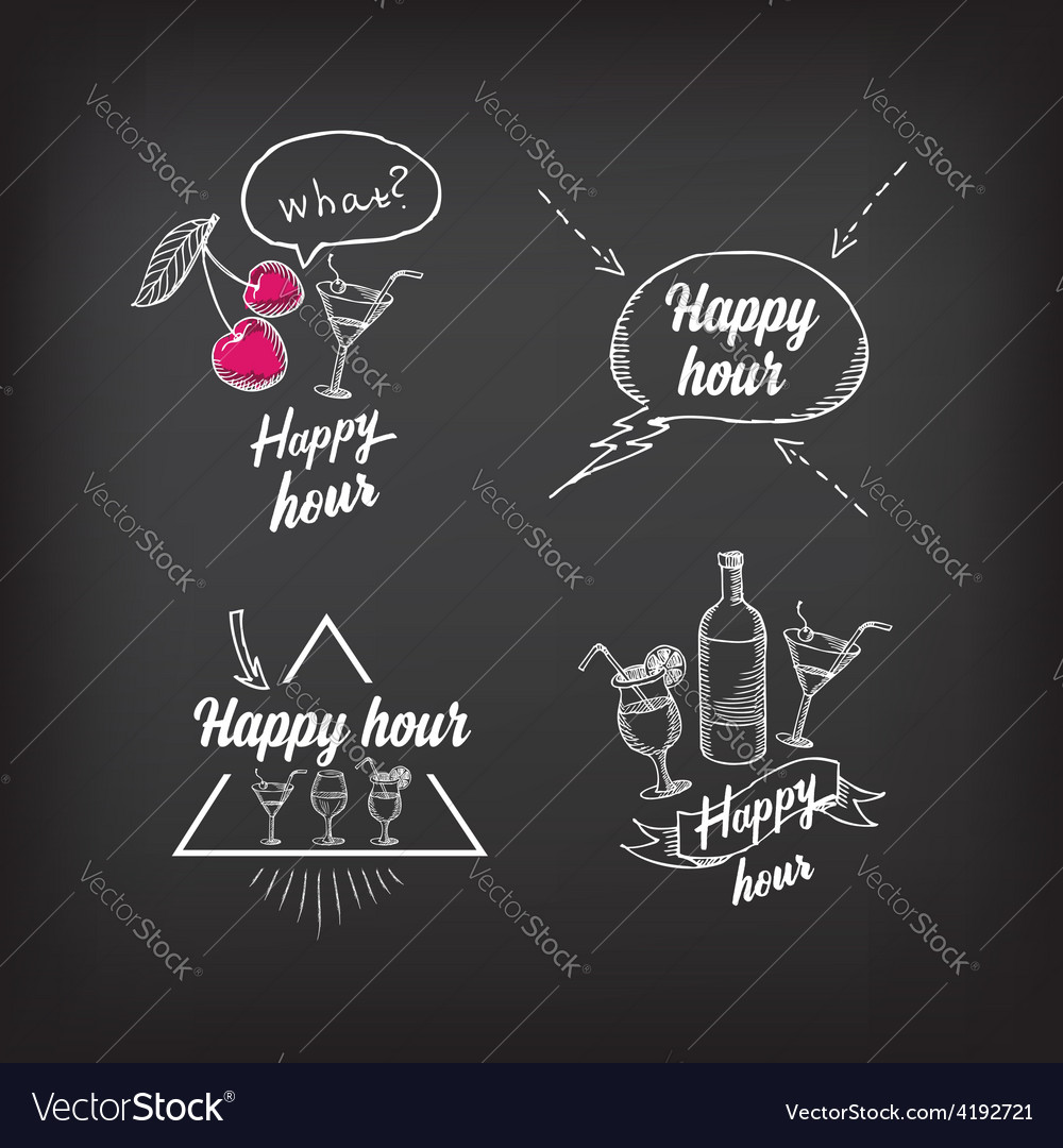 Happy hour party invitation Cocktail chalkboard