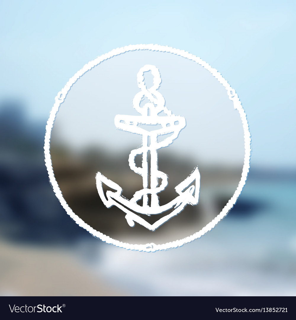 Ink hand drawn anchor on blurred sea background
