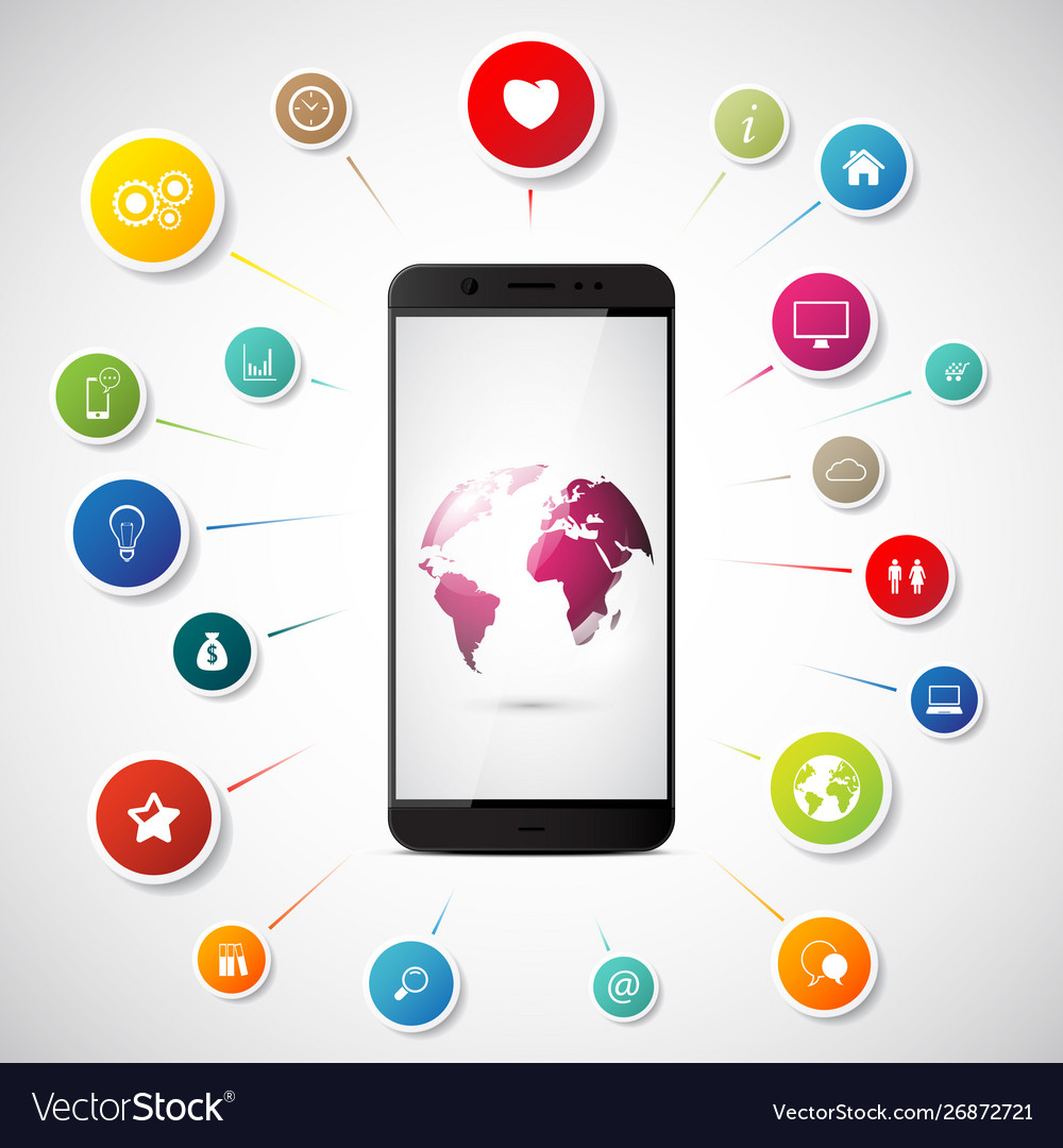 Internet concept smartphone connect to global