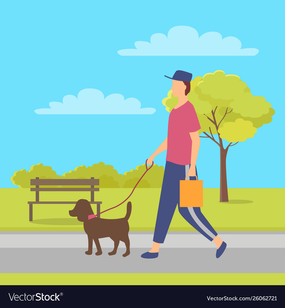 Person going with dog character with pet