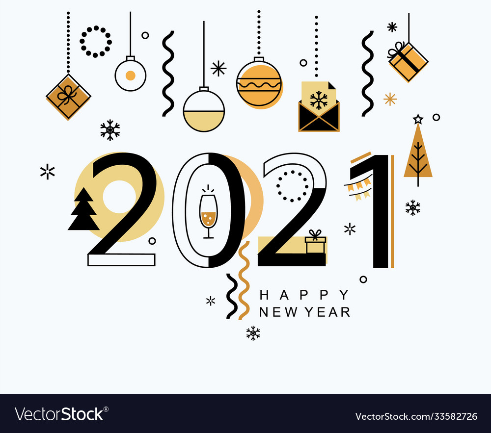 2021 new year minimal banner with gold elements