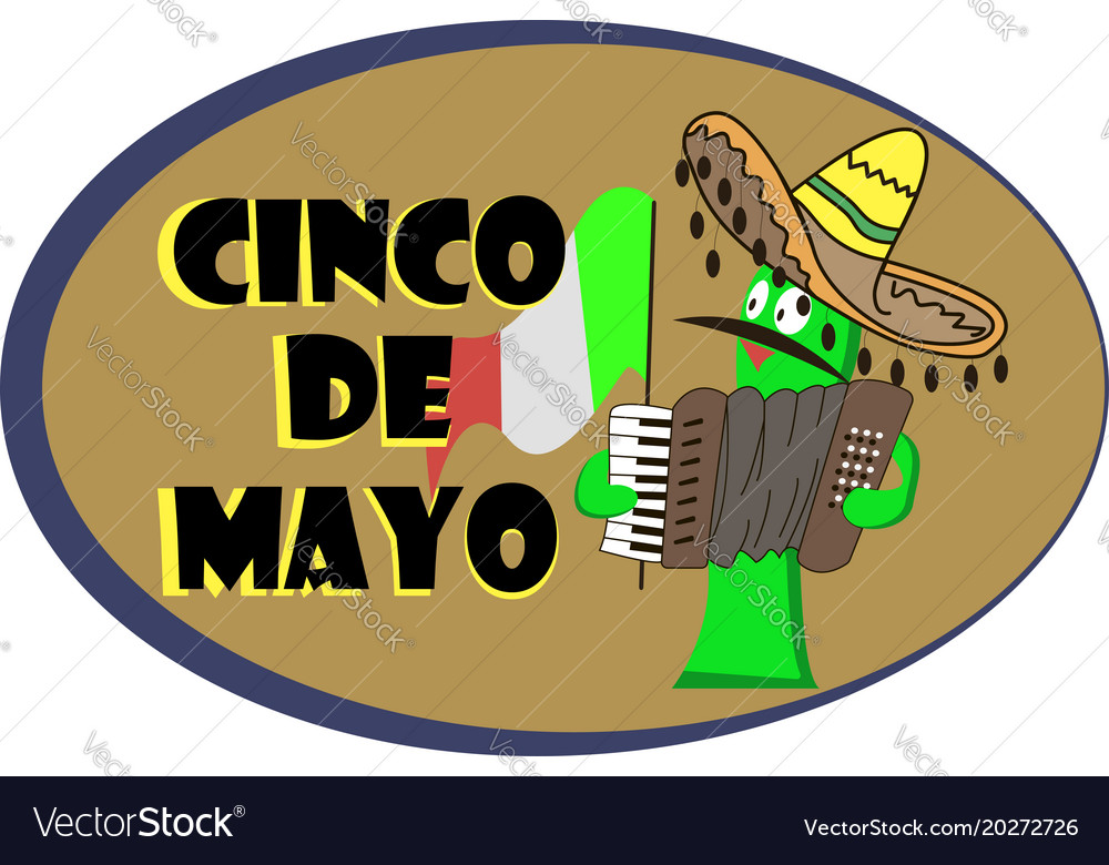 Banner for a cinco de mayo with a cheerful cactus