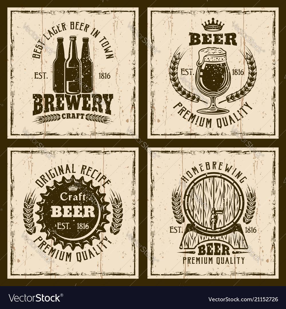Beer vintage emblems labels prints
