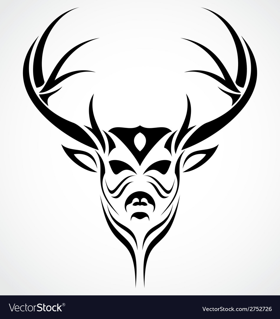 deer head tattoo design royalty free vector image rh vectorstock com browning deer head tattoo designs Deer Horn Tattoos