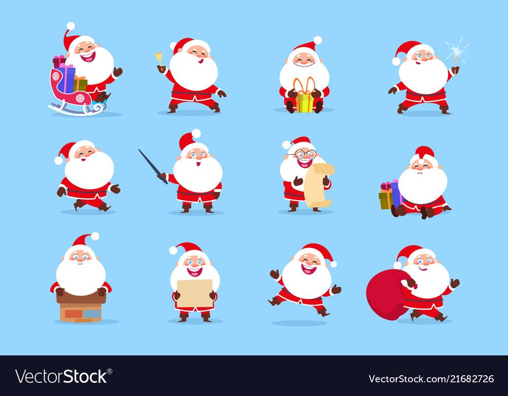 Santa character funny cartoon cute santa claus