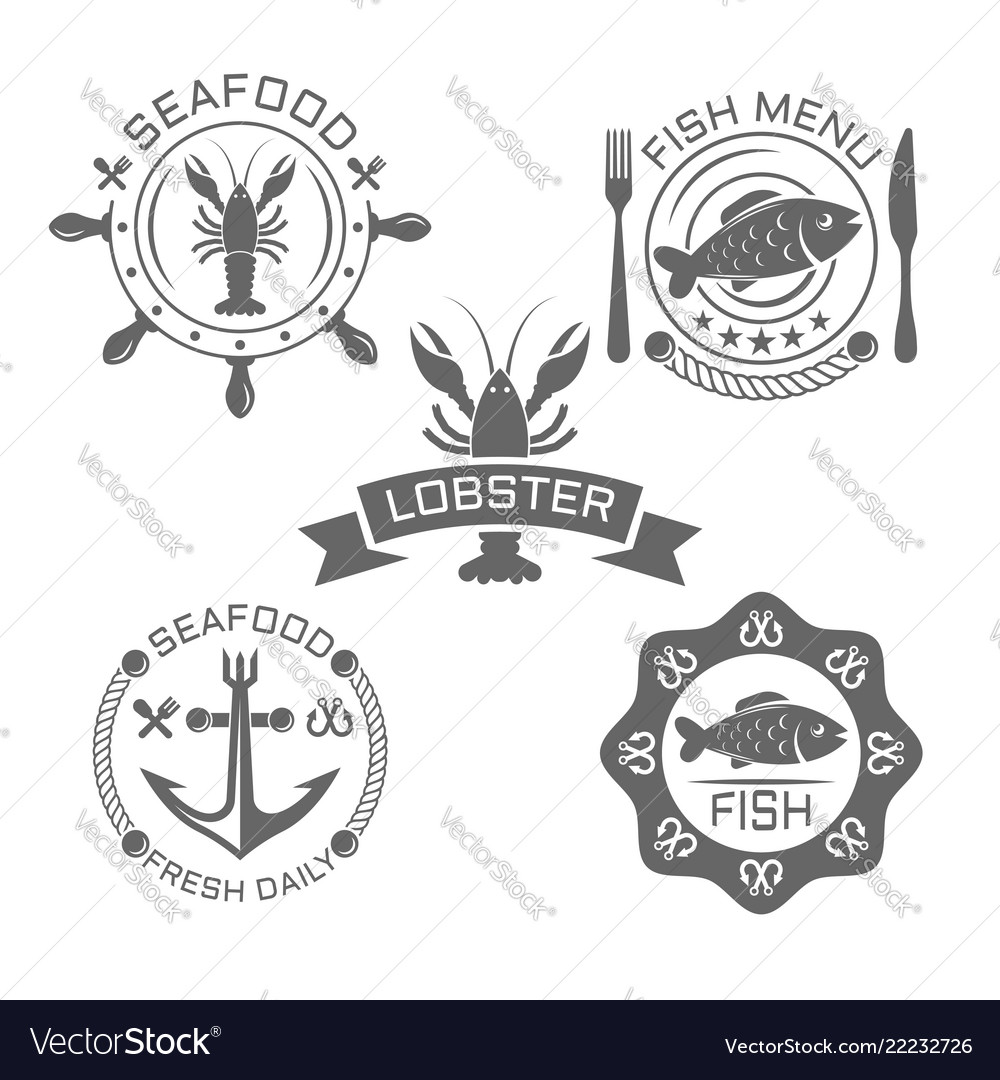 Seafood vintage emblems or labels on white