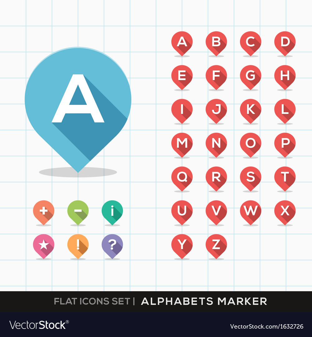 Set of A-Z Alphabet Pin Marker Flat Icons Map GPS