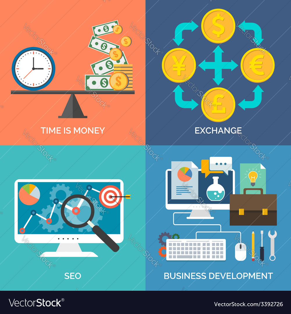 Set of flat design concept icons for business Time
