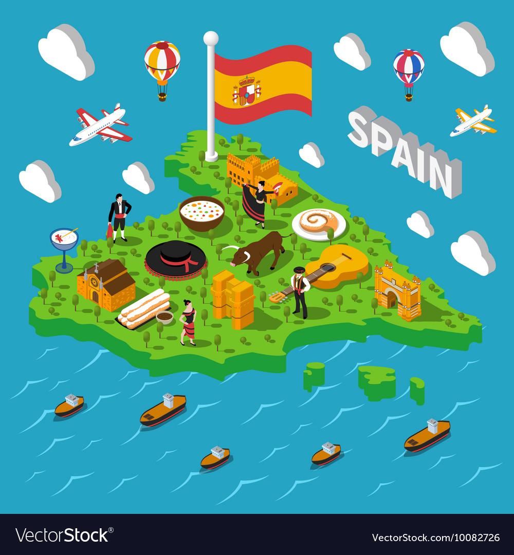 Spain Isometric Map