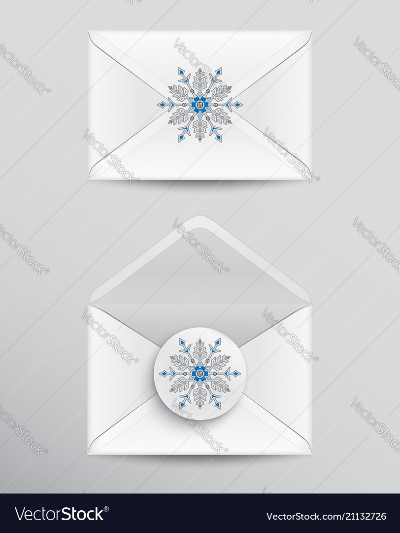 White envelopes with snowflake