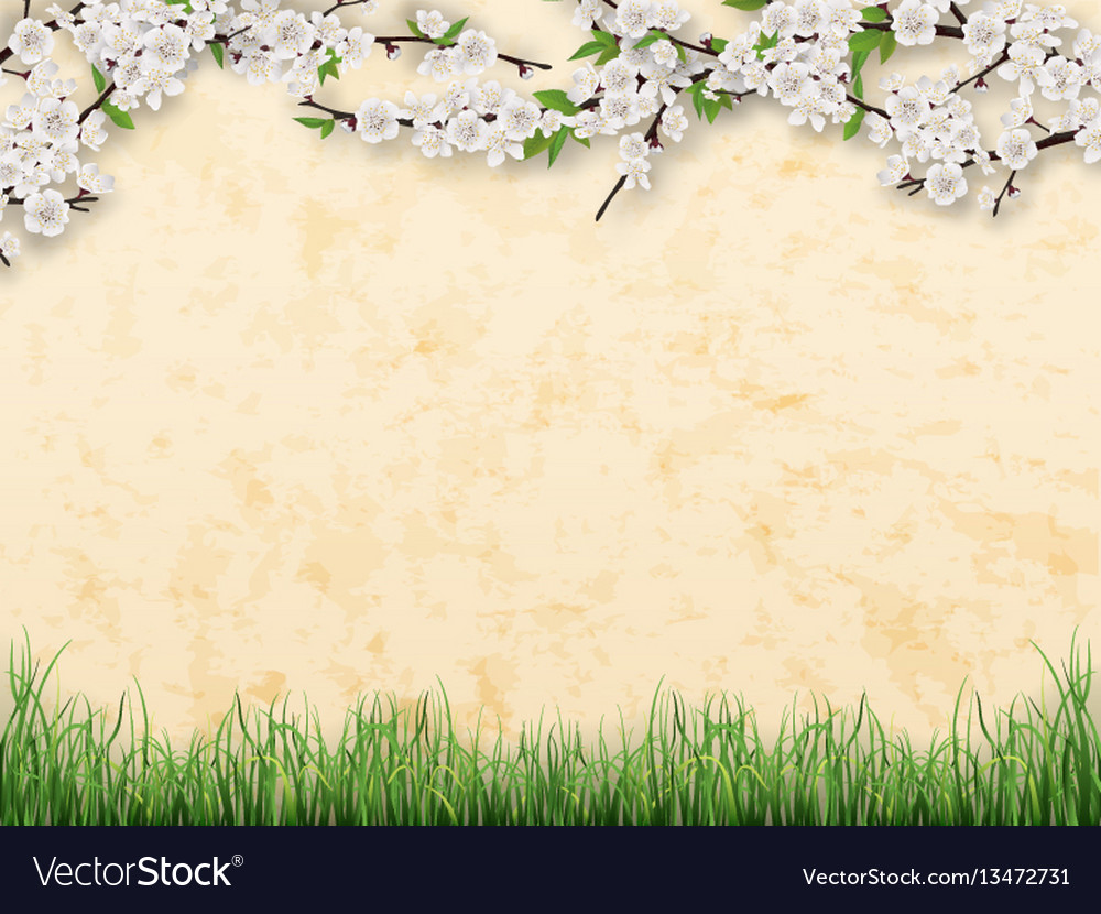 Branches with flowers and leaves on stucco wall