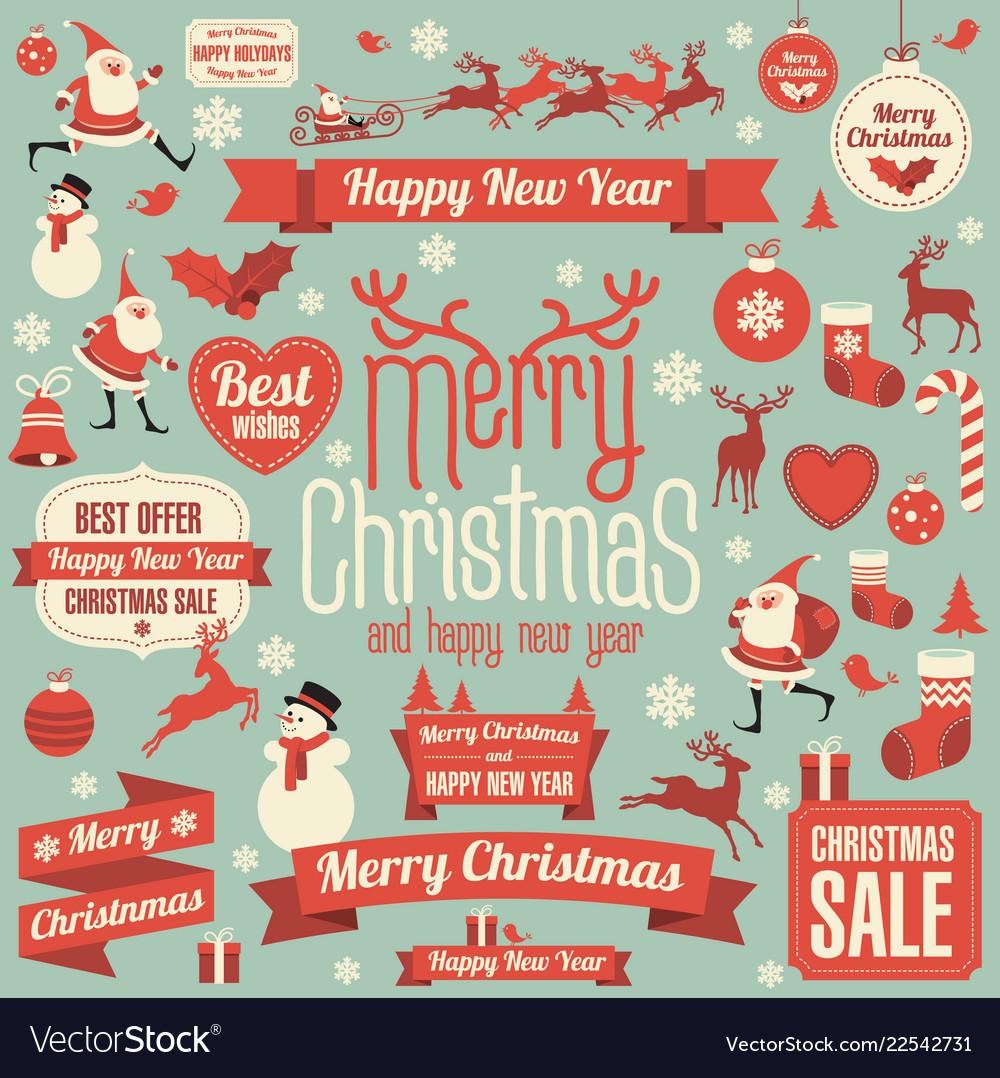Christmas design element set