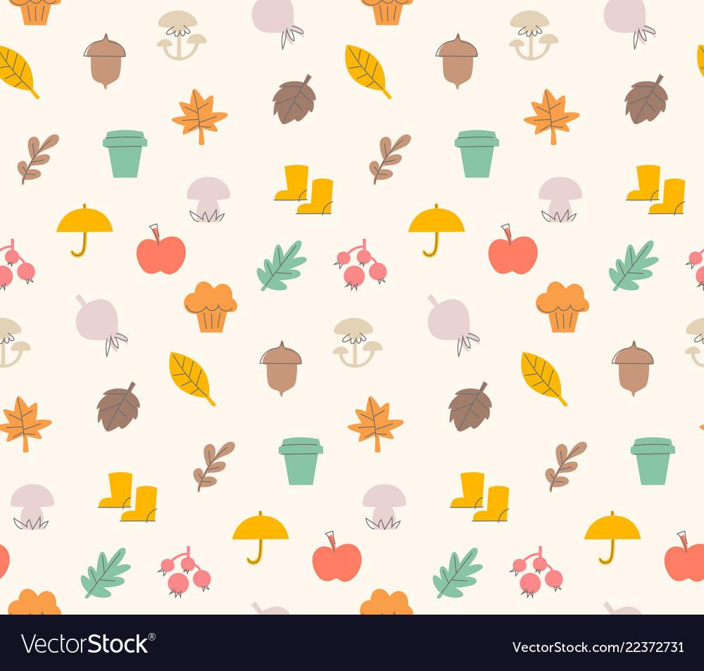 Colorful autumn seamless pattern with seasonal
