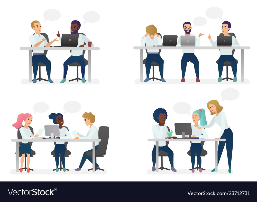 Men and women people sitting working at desk and