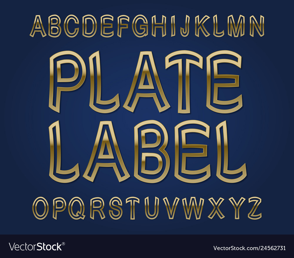 Plate label typeface golden font isolated