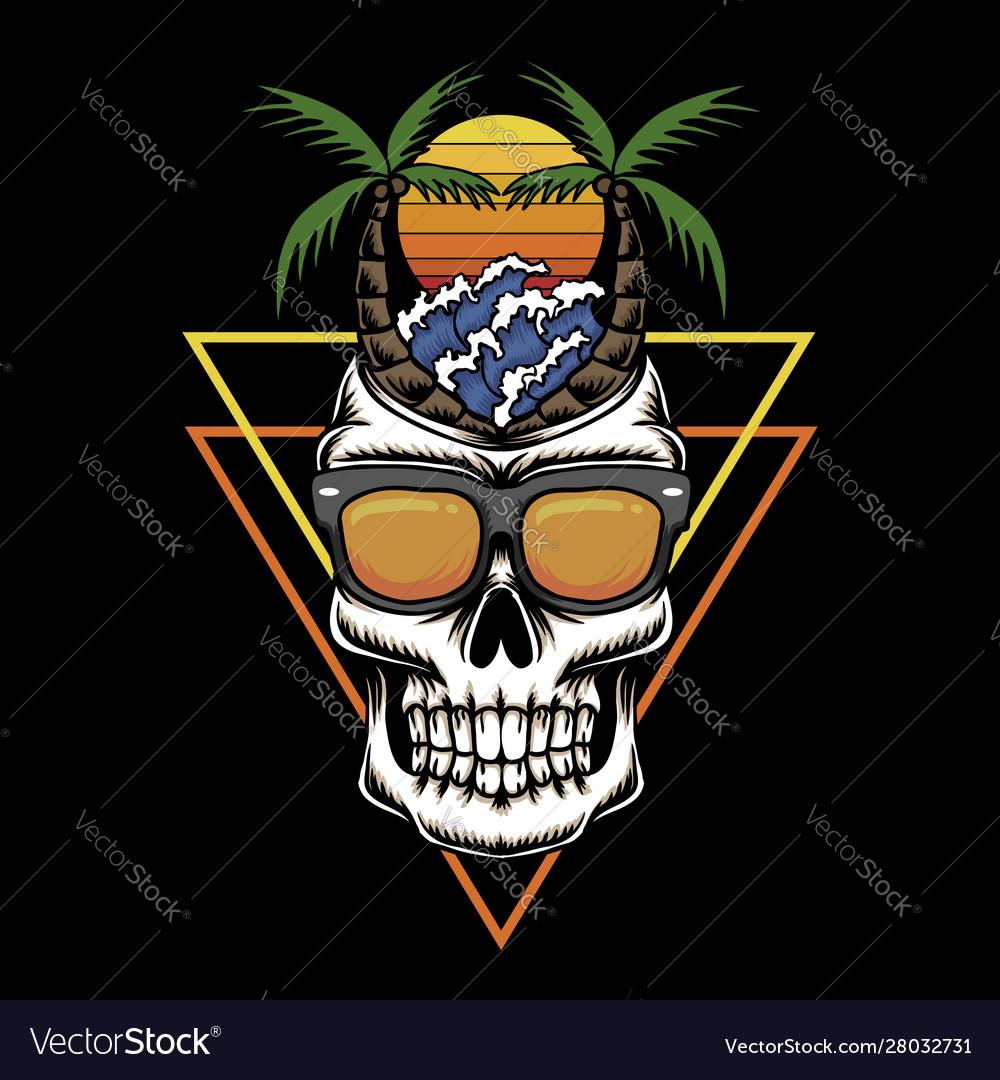 Skull holiday beach sunset retro